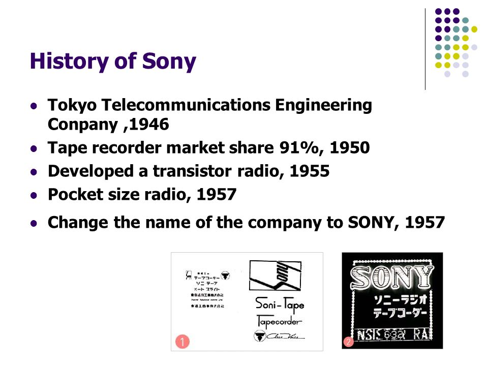 a look at the corporate history of sony corporation Sony corporation is the electronics business unit and the parent company of the sony group the japan project: made in japan - a documentary about sony's early history in the us by terry sanders [isbn missing] external links.