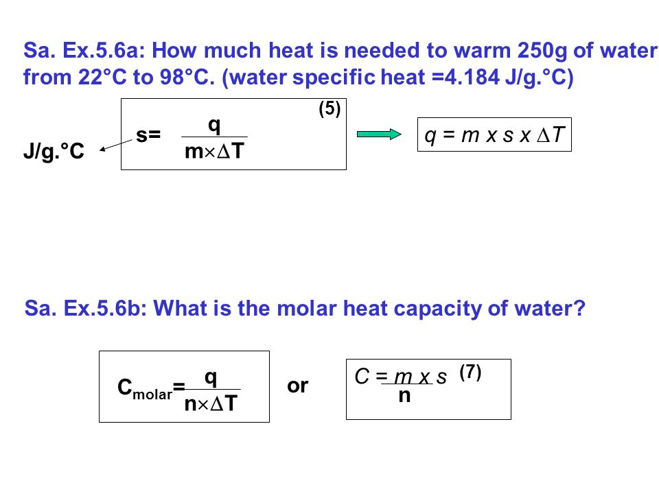 how to find molar heat capacity of water