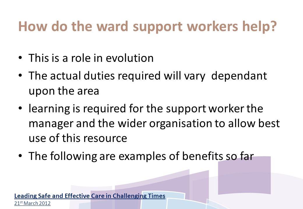 work role as a support worker Support worker job description the role of a support worker is exactly what it says on the tin as you gain more experience and work longer in the role.