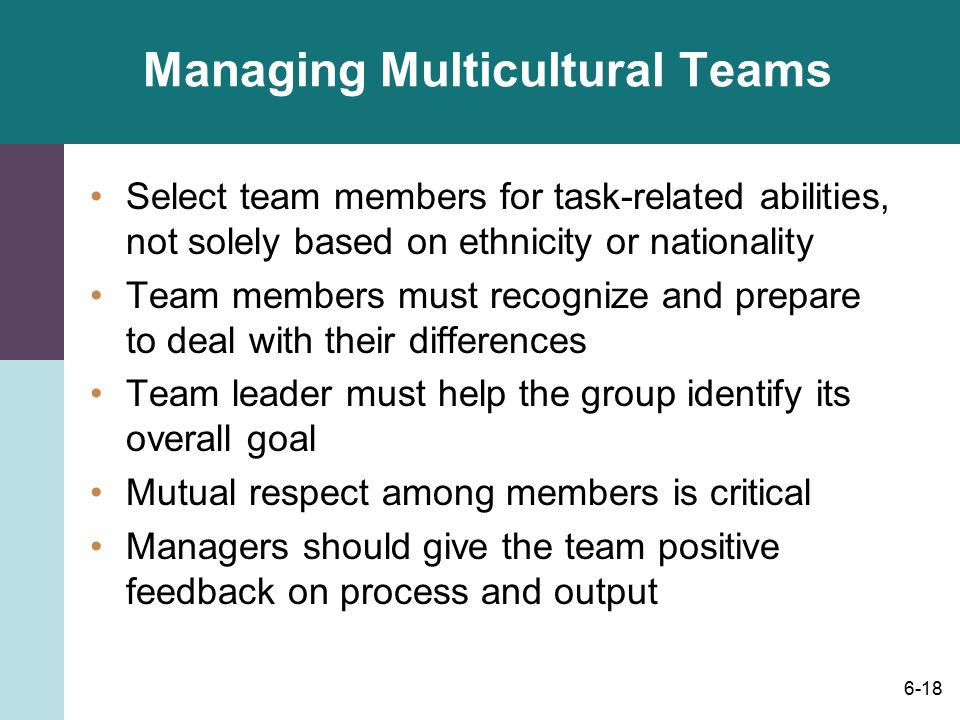 multicultural teams in organizations management essay Presenting a strategic organizational culture framework a thesis management tools are useful, and in most circumstances appropriate to effectively manage an agency acknowledging cultural variation.