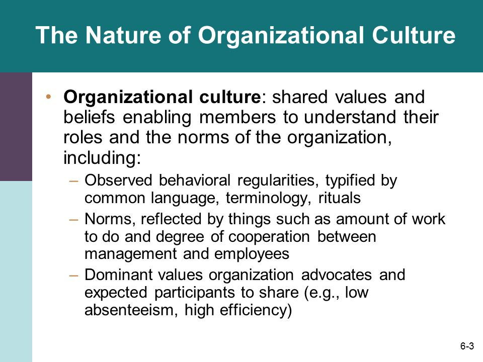 the role of organizational culture on Culture is critically important to business success, according to 84 percent of the more than 2,200 global participants in the 2013 culture and change management survey findings also.