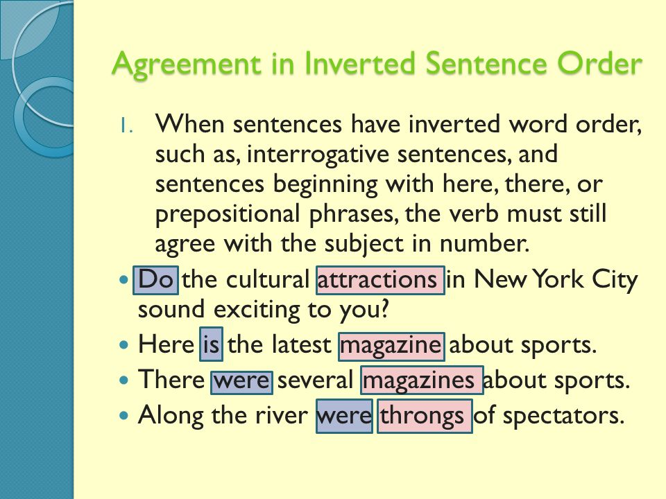 Subject verb agreement ppt video online download agreement in inverted sentence order platinumwayz