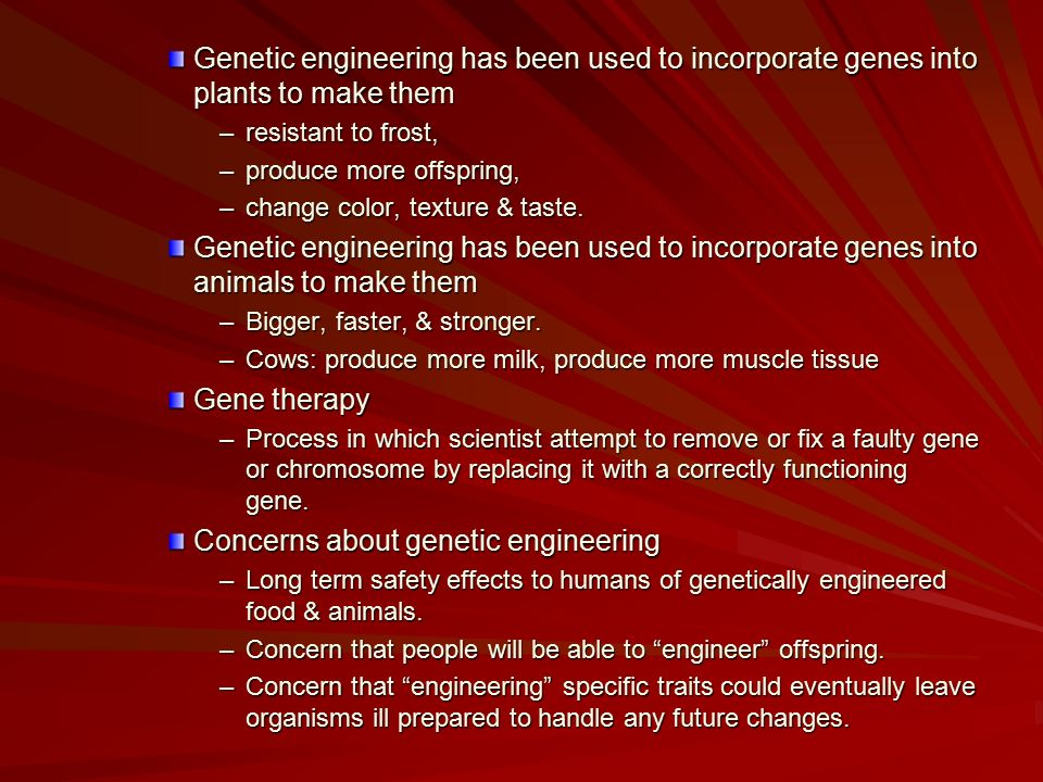 the areas of concern in genetic engineering Although genetic engineering cannot be summarily accepted or rejected, any lack of scientific risk now doesn't negate future concerns and, no matter what direction future research takes, corn will continue to be a bellwether crop.