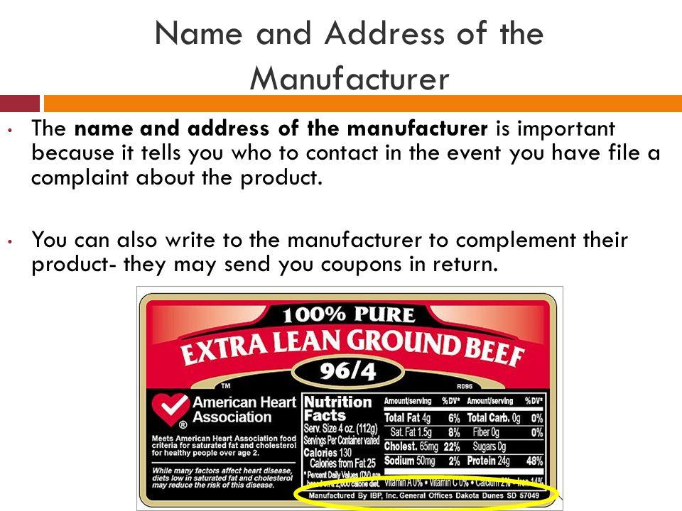 Important Of Manufacturer S Name Address On Label Food