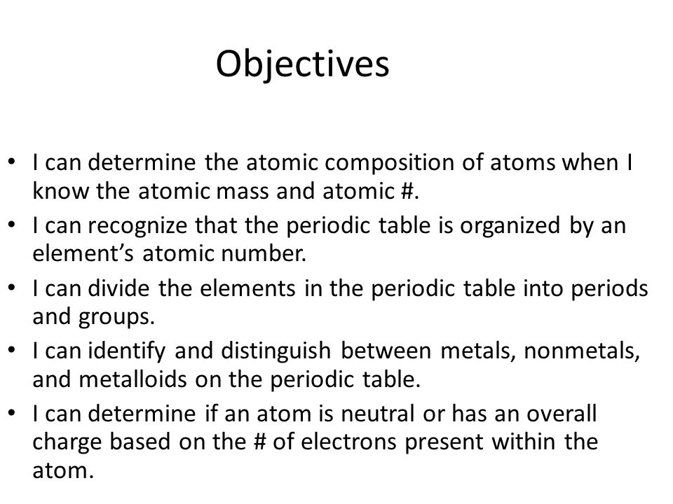 Atomic structure pre assess ppt video online download objectives i can determine the atomic composition of atoms when i know the atomic mass and 74 periodic table urtaz Images