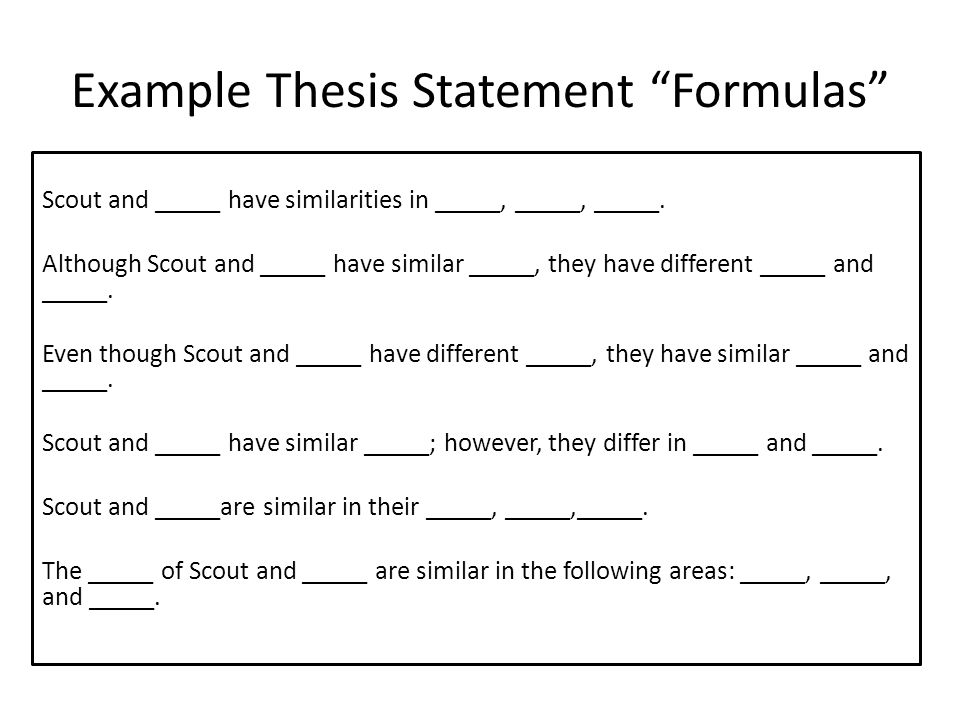 Good thesis statement formula