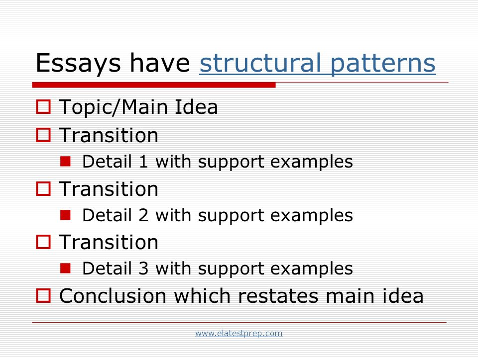 writing strategies organization and focus ppt examples conclusion which restates main idea essays have structural patterns