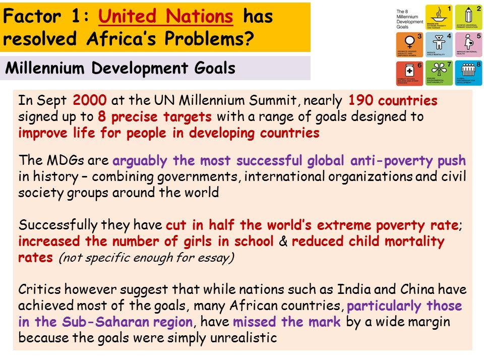 world issues development in africa ppt  factor 1 united nations has resolved africa s problems