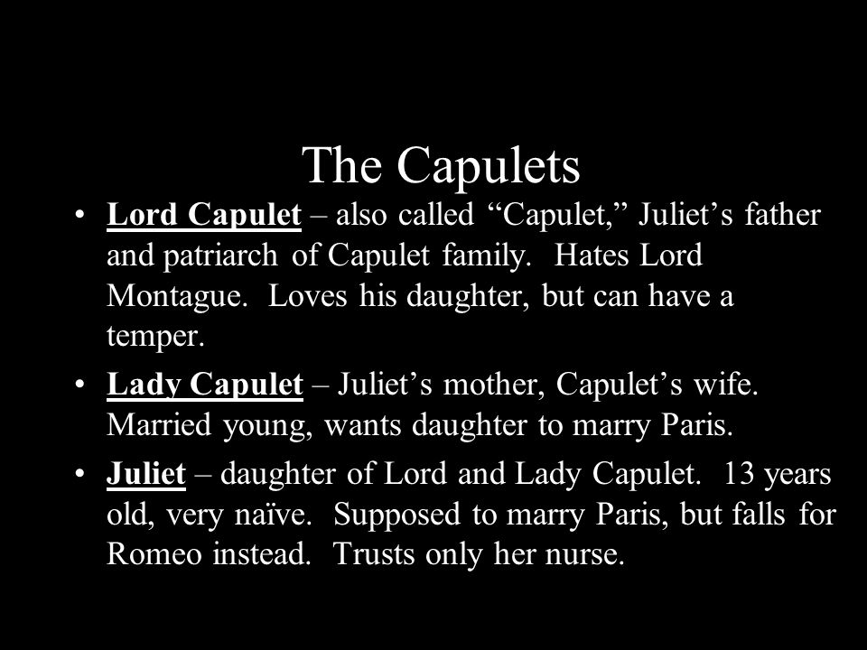 Lord and lady capulet are bad parents