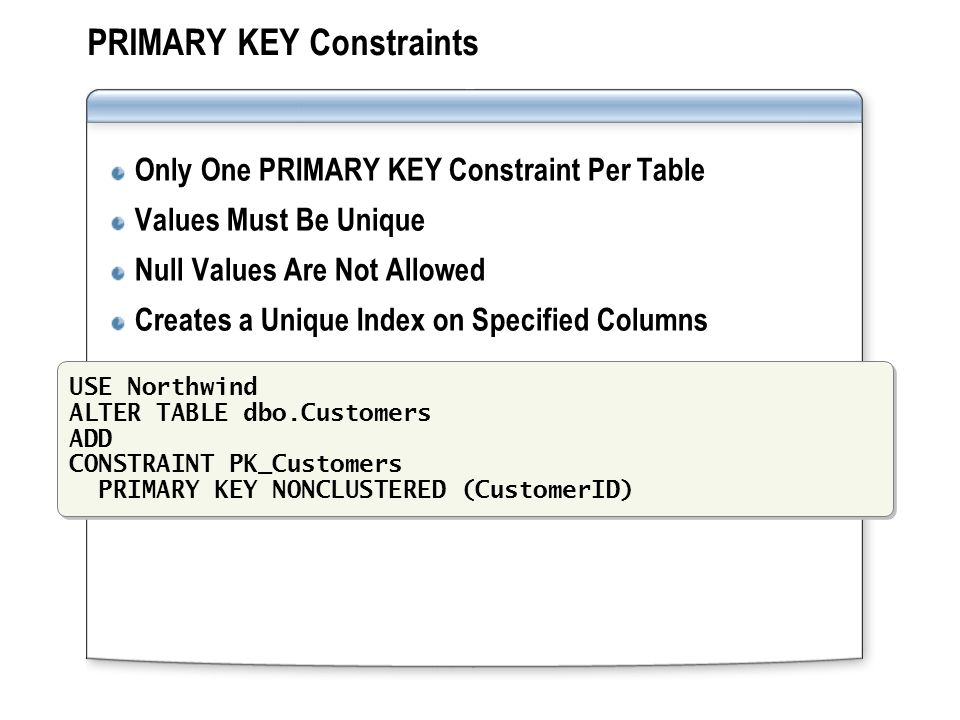 Module 4 implementing data integrity ppt video online - Alter table add constraint primary key ...
