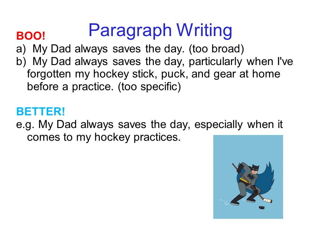 writing and dad in paragraph We have free english lessons, free lesson plans and can correct your essays, reports, compositions, writing, resumes and you will find a list of capitalization rules that will help you in most writing situations 1 the first letter of every below is a paragraph that contains no.