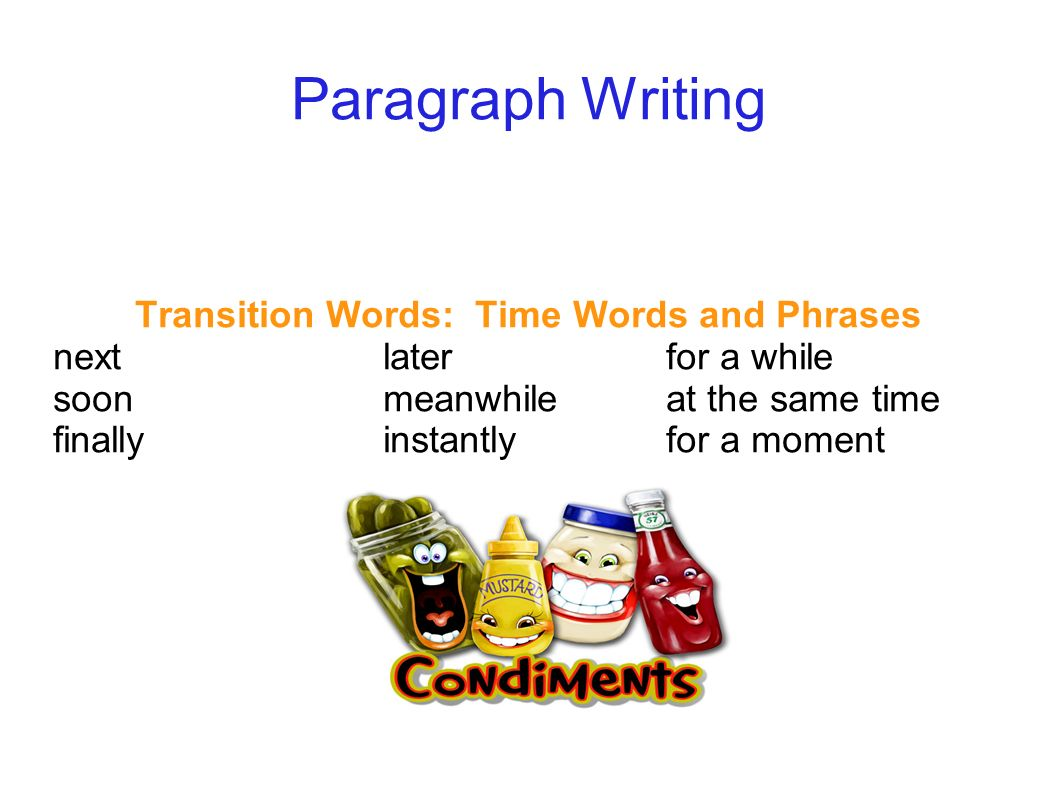 transition words for writing a paragraph ppt