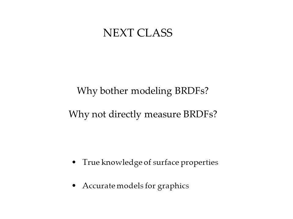 Why bother modeling BRDFs Why not directly measure BRDFs