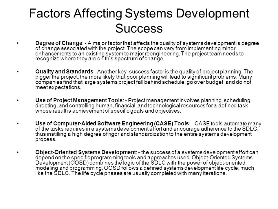 factors affecting project management development Factors affecting software maintenance productivity: an exploratory study 1  systems development project is a coded program or  project management, user.