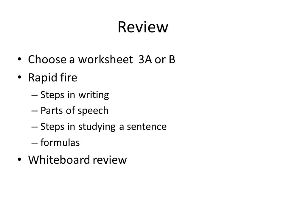 Bell work Write a simple sentence 2 Write a compound sentence – Parts of Speech Review Worksheets
