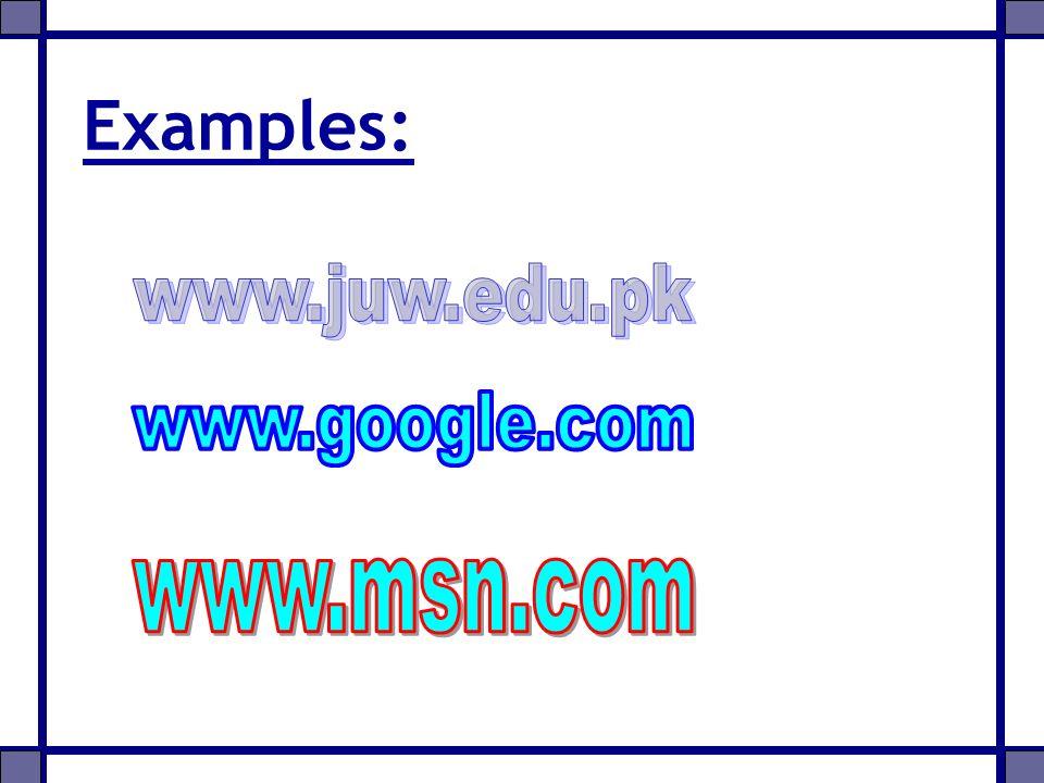 Examples: www.juw.edu.pk www.google.com www.msn.com