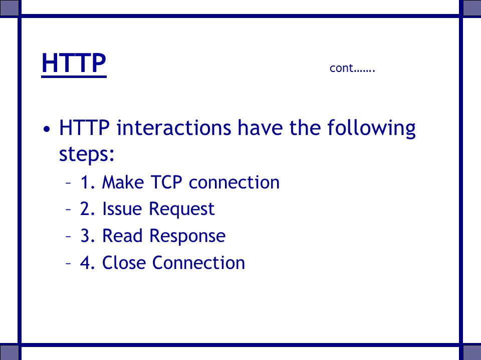 HTTP cont……. HTTP interactions have the following steps: