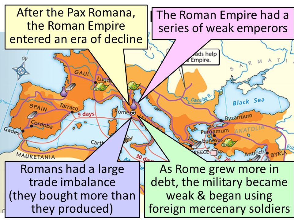 the factors contributing to the fall of the roman empire Several decades ago, a historian decided to compile the numerous reasons that  other historians have stated as rome declined and 210.