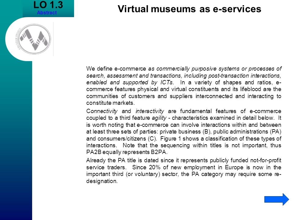Virtual museums as e-services