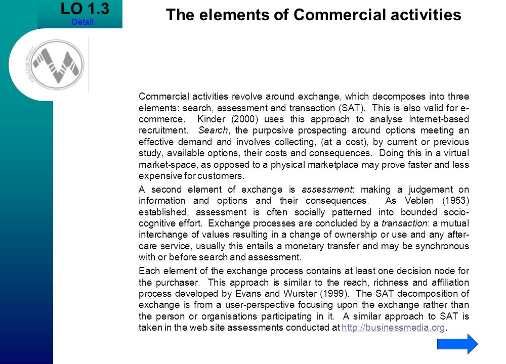 The elements of Commercial activities
