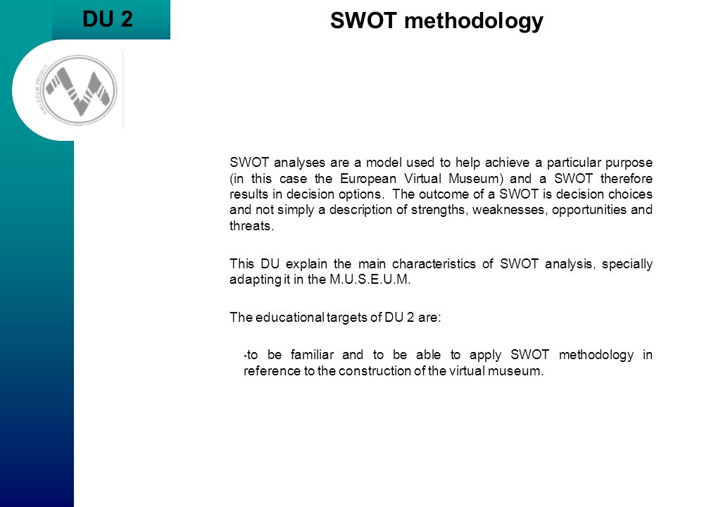 DU 2 SWOT methodology.