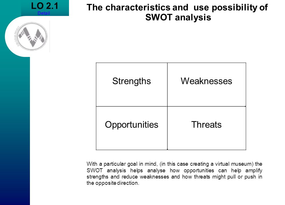 The characteristics and use possibility of SWOT analysis