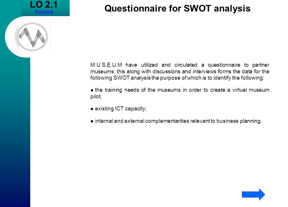 Questionnaire for SWOT analysis