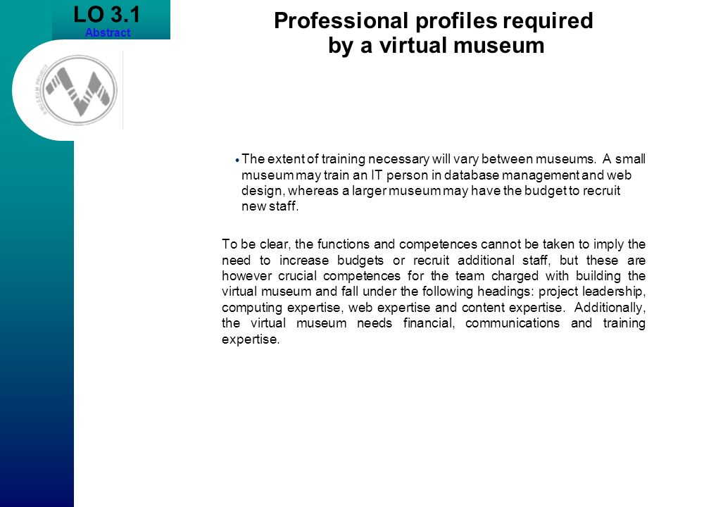Professional profiles required by a virtual museum