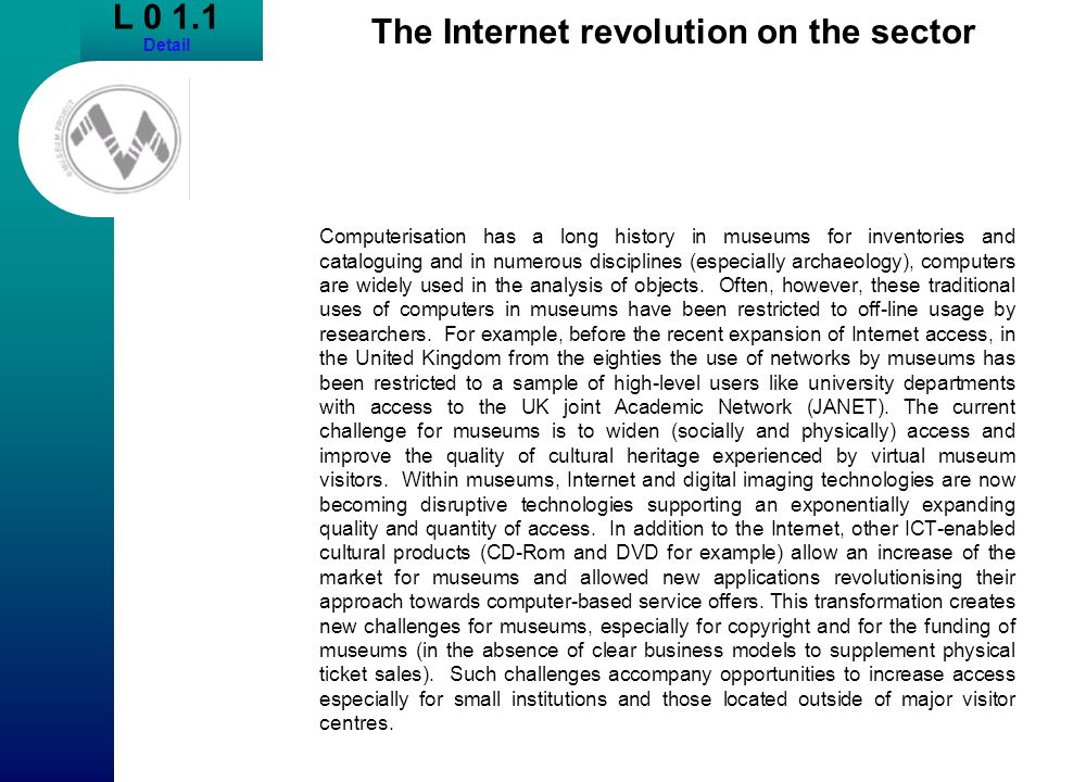 The Internet revolution on the sector