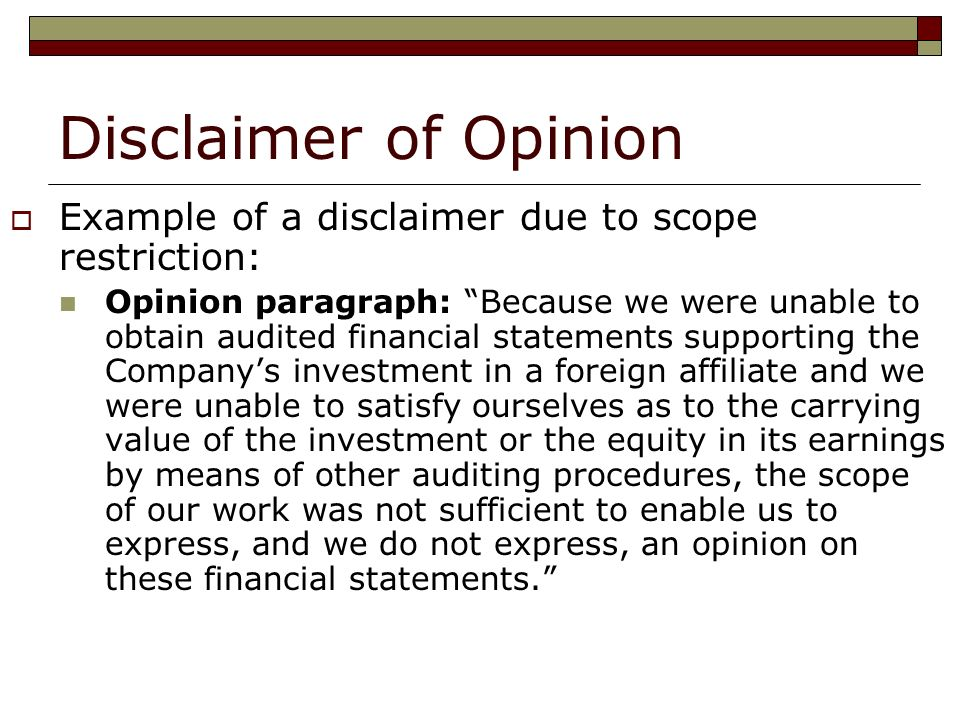 earnings disclaimer template - ba 427 assurance and attestation services ppt video