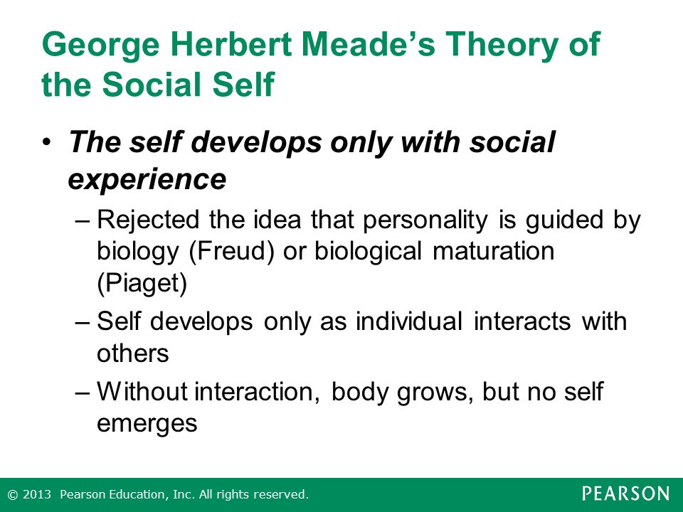 george mead the social self George herbert mead: the self,  construction workers, police officers and so on in an article called genesis of the self and social control by george herbert.