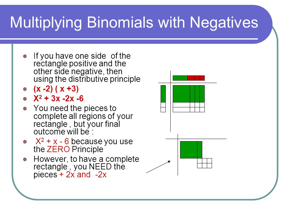 Multiplying Binomials with Negatives