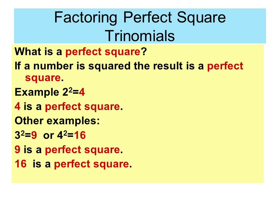 how to remember perfect squares