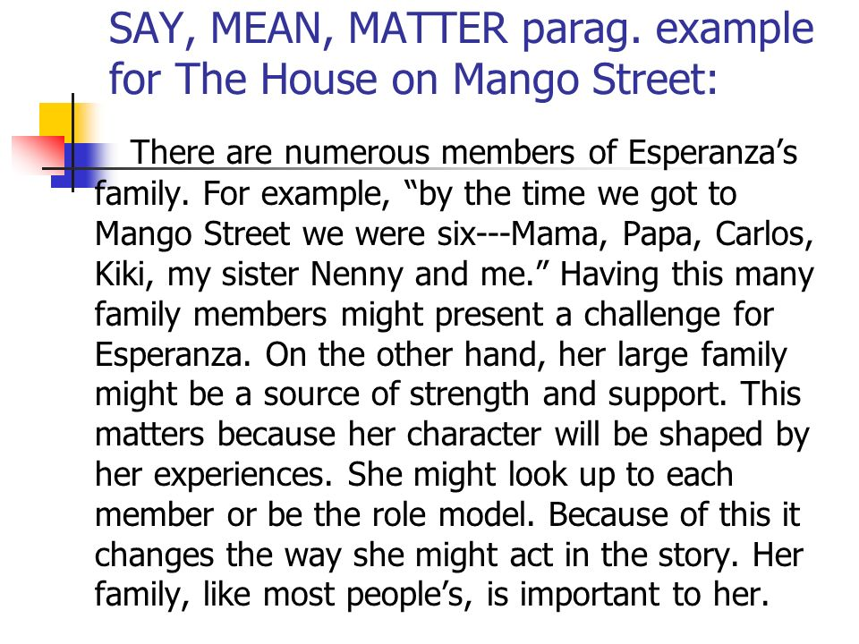 say mean matter journal ppt video online say mean matter parag example for the house on mango street