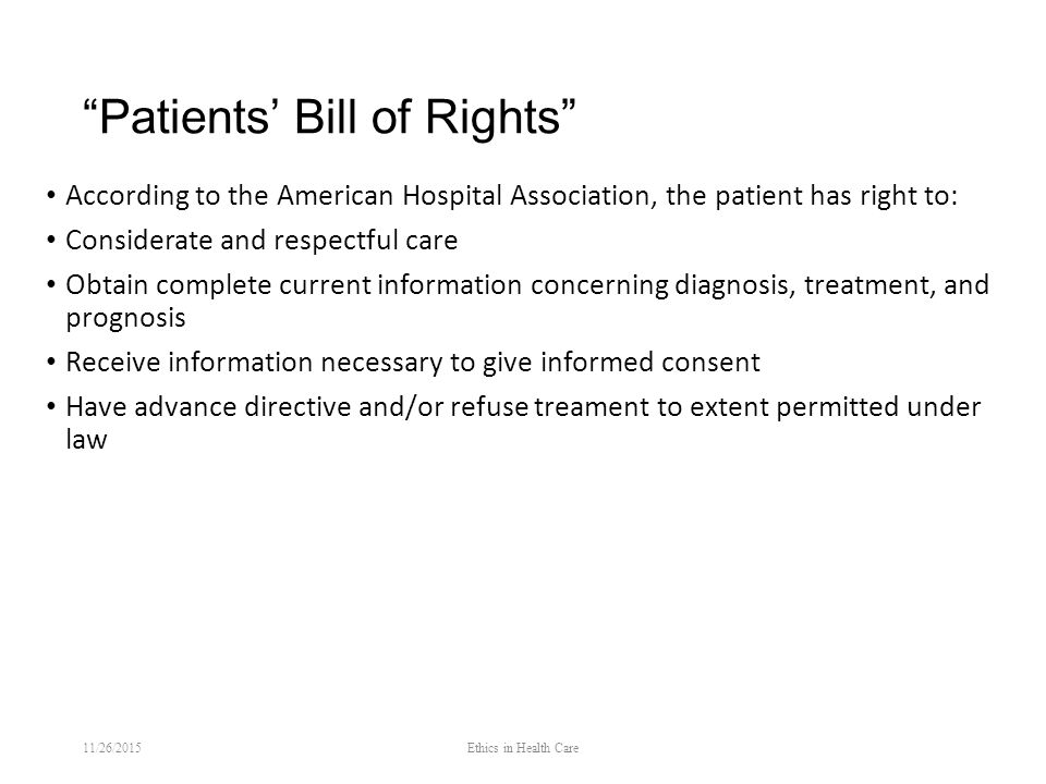 a patients bill of rights