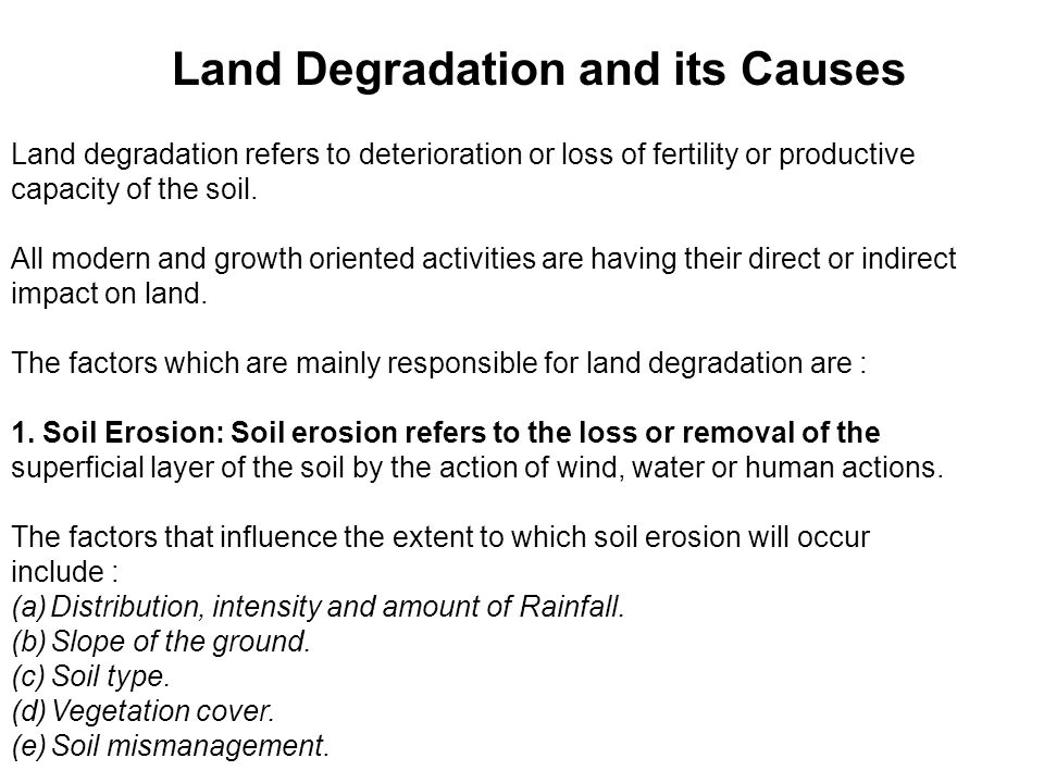 Land Degradation and its Causes