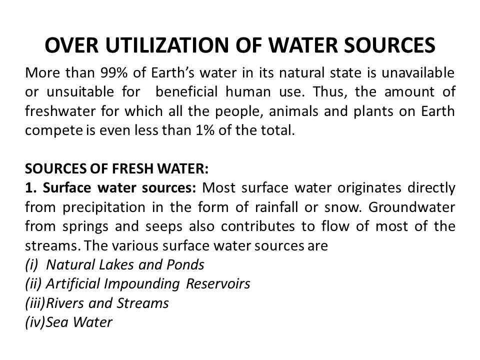 overutilization of water resources Water resources are natural resources of water that are potentially useful uses of water include agricultural, industrial, household, recreational and environmental.