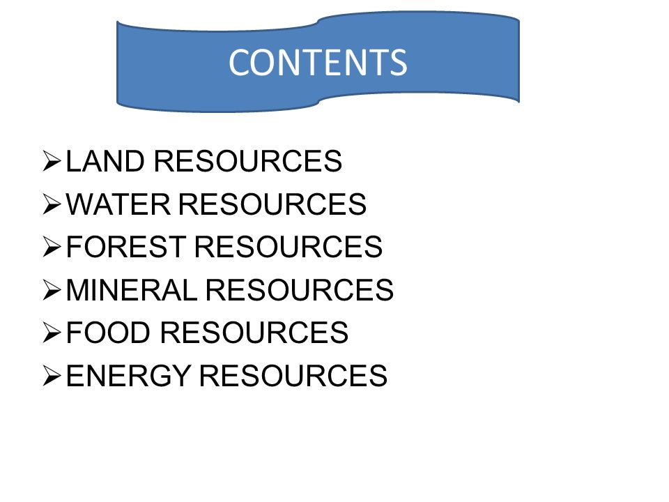 CONTENTS LAND RESOURCES WATER RESOURCES FOREST RESOURCES