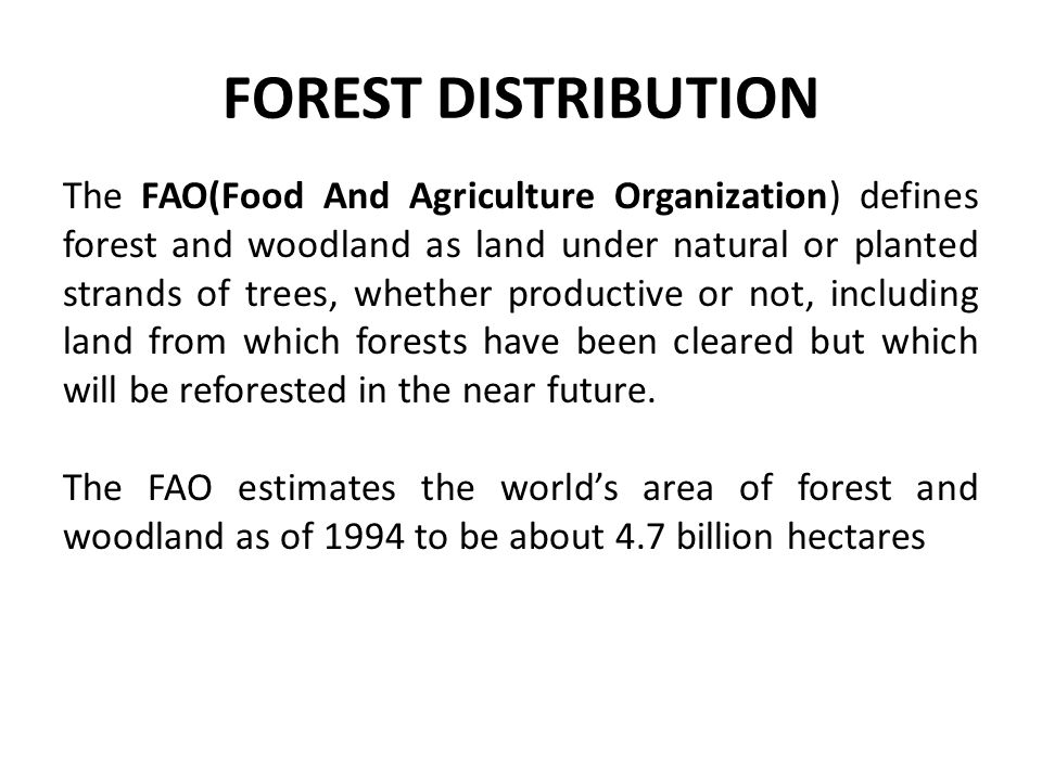 FOREST DISTRIBUTION