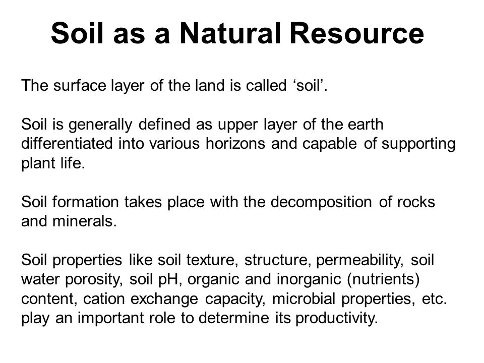 Soil as a Natural Resource