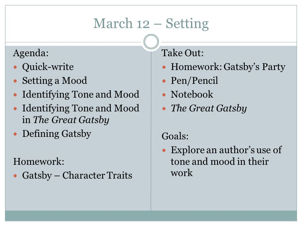 March 12 Setting Agenda Quick Write Setting A Mood Ppt Video