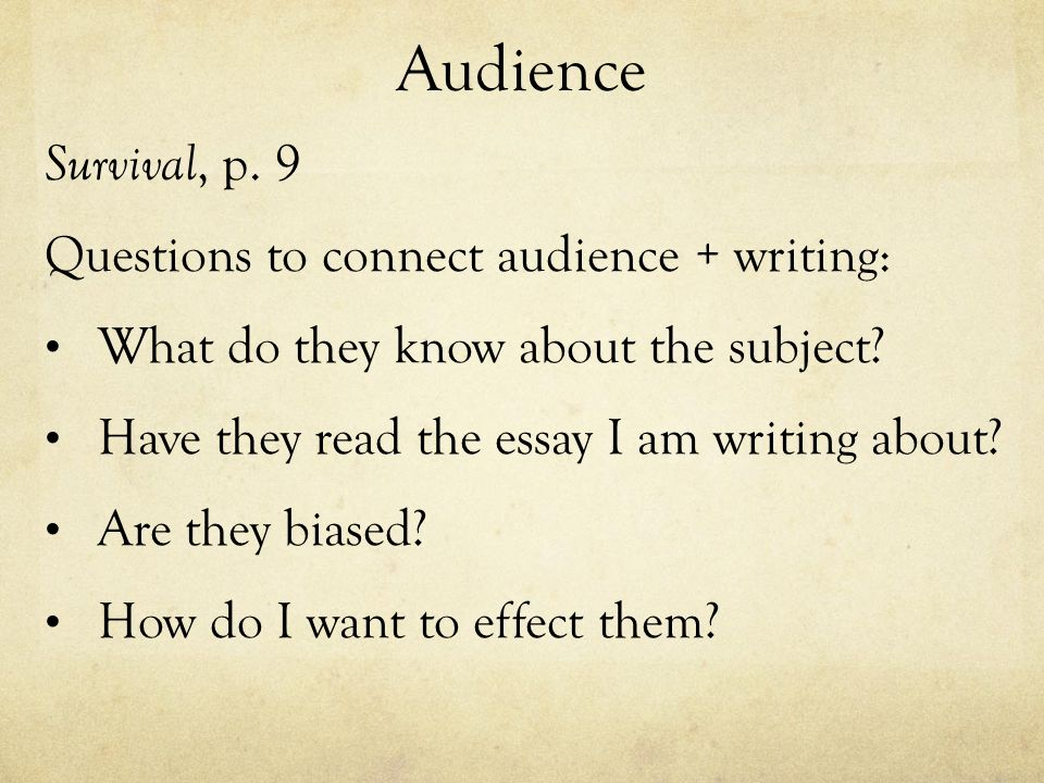 determine audience essay After teaching students how to organize essays effectively, i was on top of the worldi started my own blog about how great i was i assigned my students another essay, collected it and realized my students did not understand writing for purpose and audience.