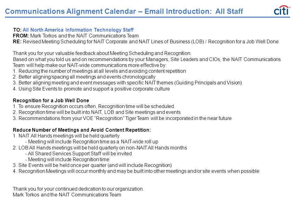 Communications alignment calendar sample of excel sheet ppt communications alignment calendar email introduction all staff thecheapjerseys Image collections