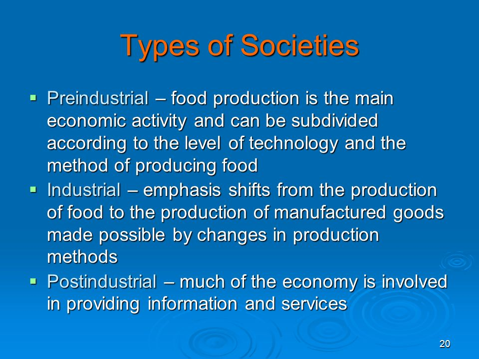 Sociology 4/25/2017. Types of Societies.