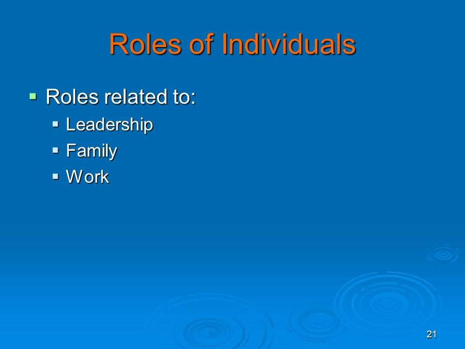 Roles of Individuals Roles related to: Leadership Family Work