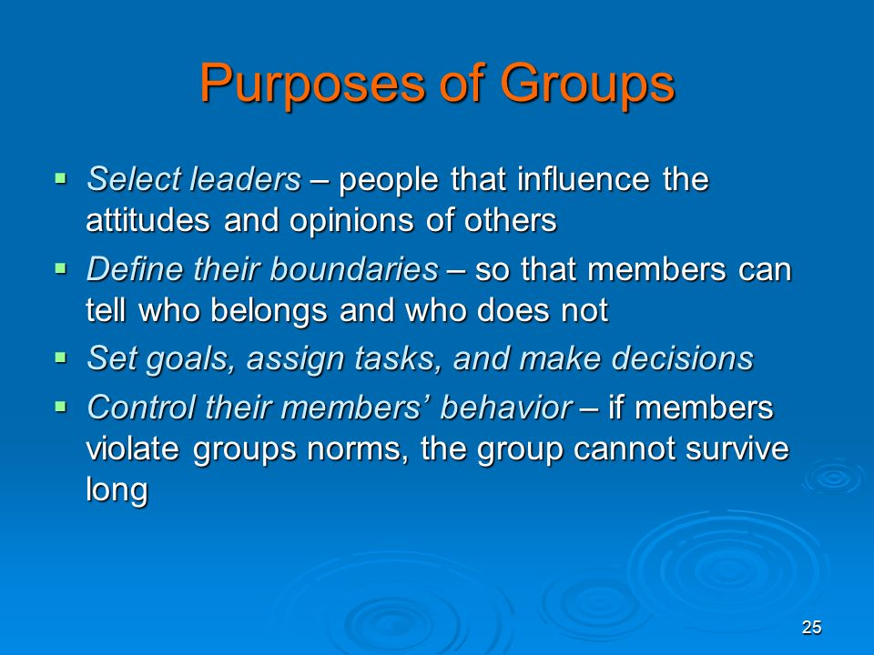 Sociology 4/25/2017. Purposes of Groups. Select leaders – people that influence the attitudes and opinions of others.