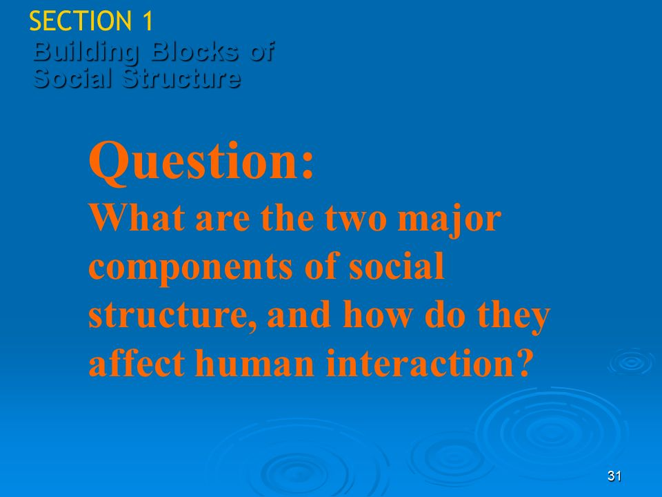 Sociology SECTION 1. 4/25/2017. Building Blocks of Social Structure. Question: