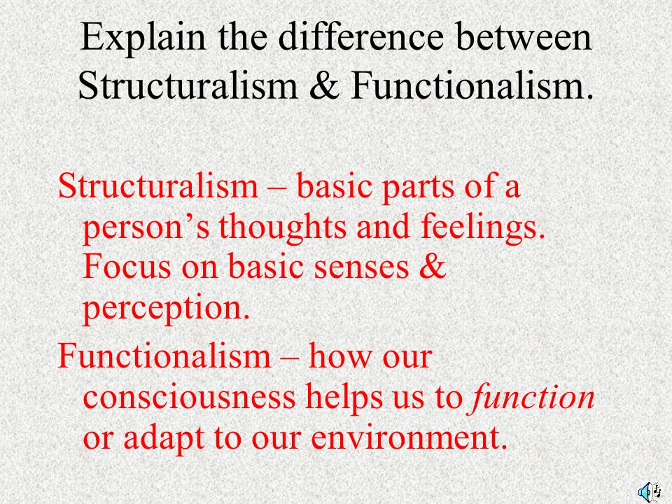 the stucturalism and functionalism psychology essay Structuralism and semiotics john william phillips elljwp@nusedusg what is structuralism structuralism is the name that is given to a wide range of discourses.