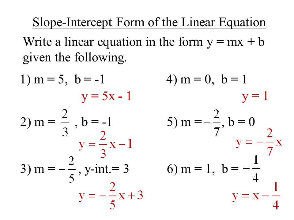 Drawing Lines Using Equations : Objective to use slope intercept form write