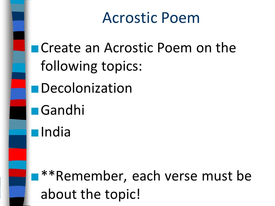 creating an acrostic poem Acrostic name poems are simple poems in which the first letter of each line forms a word or phrase vertically, it uses each letter of the name to begin an inspiring phrase.